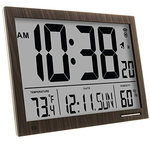Marathon Cl030062wd Slim Jumbo Atomic Digital Wall Clock