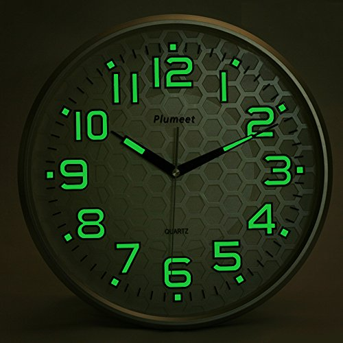 Night Light Function, Plumeet 13-Inch Wall Clock With