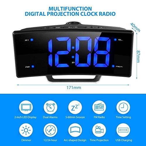 Pictek FM Digital Dimmable Projection Alarm Clock Radio with
