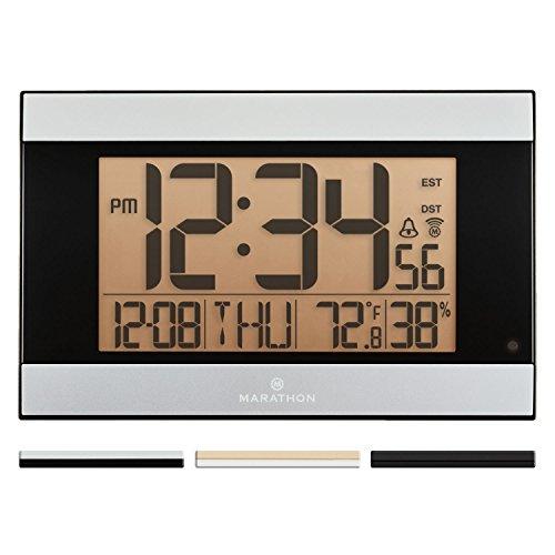 Marathon Cl030062wd Slim Jumbo Atomic Digital Wall Clock