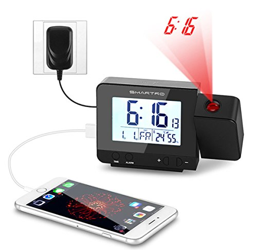 Alarm Clock Smartro Digital Projection Clock With Dual Alarms - Clever magnetic wall clock charges phone wirelessly