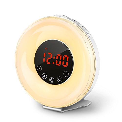 coulax wake up light sunrise simulation alarm clock with 6 nature sounds digital smart snooze. Black Bedroom Furniture Sets. Home Design Ideas
