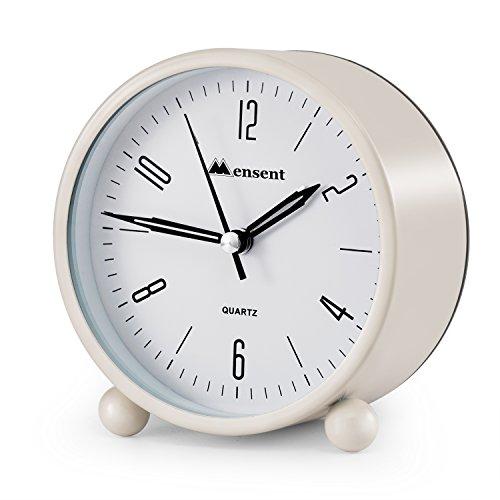 Alarm Clock Mensent 4 inch Round Silent Analog Alarm Clock Non