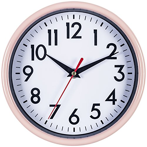 Pink Wall Clock 8 Silent Non Ticking Quality Quartz