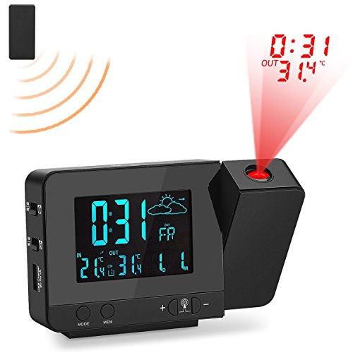 Wootek Digital Projection Clock Alarm Clock With Weather