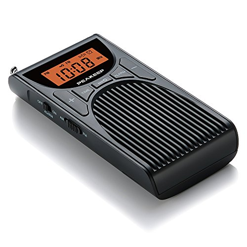 PEAKEEP Portable Pocket AM FM Clock Radio with Speaker and