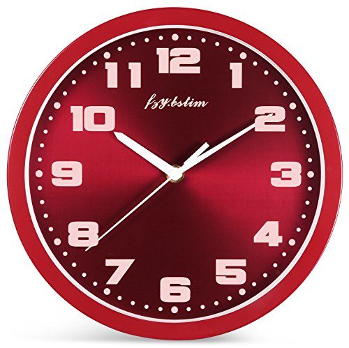 Silent Non Ticking Wall Clock Battery Operated 10 Inch