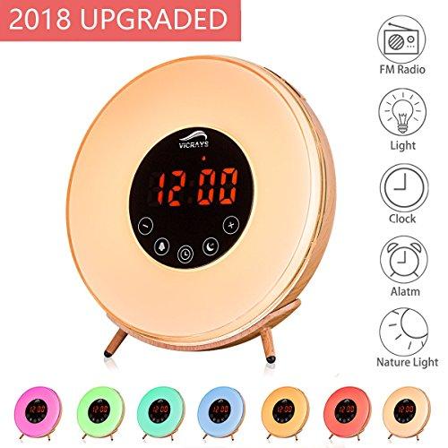 vicrays digital led alarm clock for bedrooms bedside and kids fm radio 7 colors 6 natural. Black Bedroom Furniture Sets. Home Design Ideas