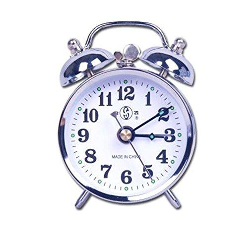 Besplore Double Bell Mechanical Wind Alarm Clock Silver