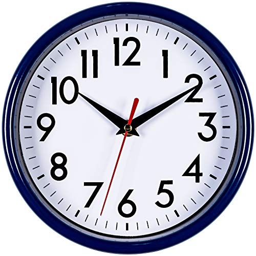 Bernhard Products Navy Blue Wall Clock 8 Silent Non